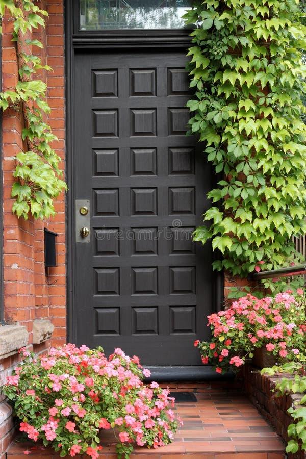 Voordeur met klimop stock afbeelding
