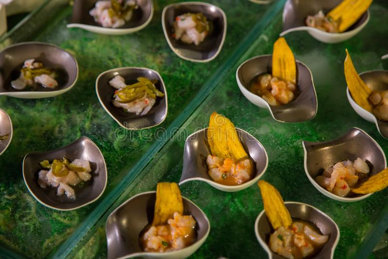 Voorgerecht ceviche met ruwe vissen royalty-vrije stock fotografie
