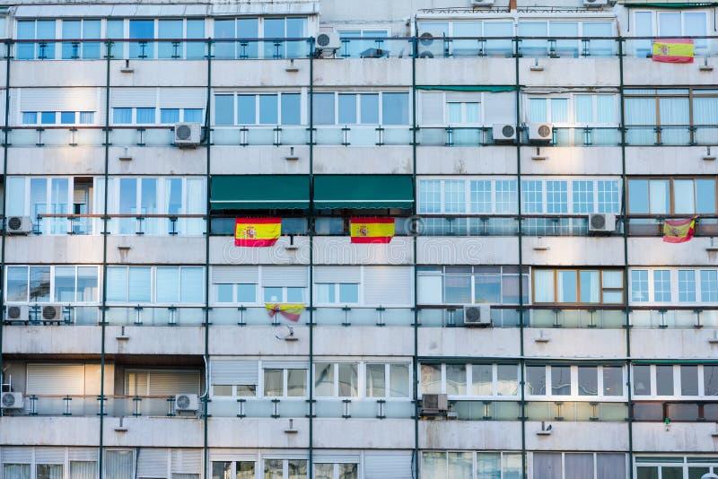 Voorgevel de bouwarbeidende klasse Madrid, Spanje royalty-vrije stock afbeeldingen