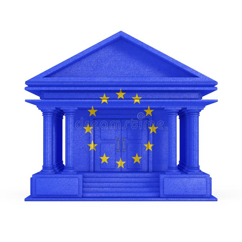 Voorgevel van Bank, Hof of Overheids de Bouw met Europese Unie Vlag het 3d teruggeven stock illustratie