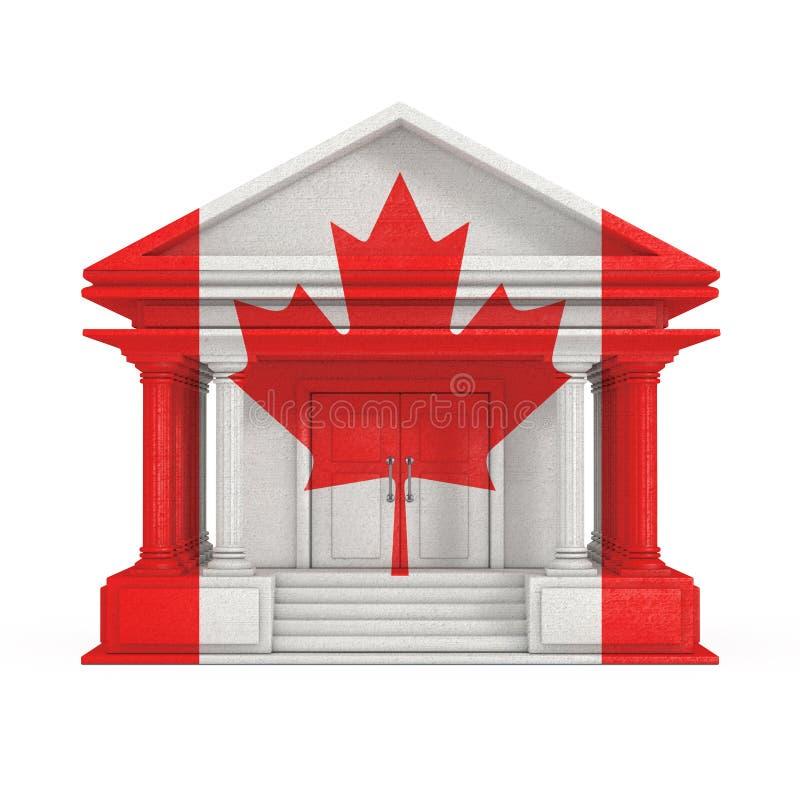 Voorgevel van Bank, Hof of Overheids de Bouw met de Vlag van Canada het 3d teruggeven royalty-vrije illustratie