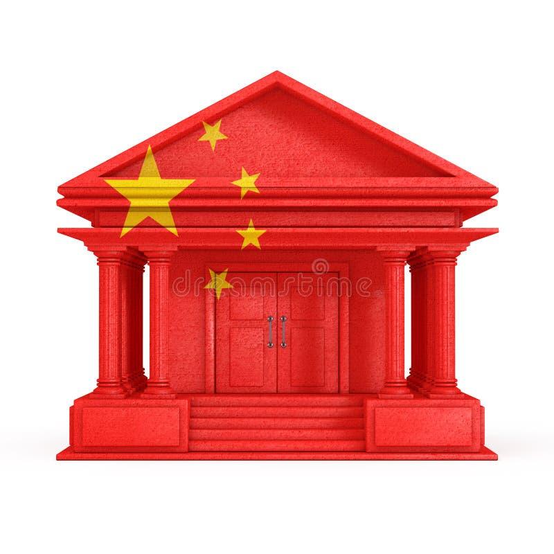 Voorgevel van Bank, Hof of Overheids de Bouw met de Vlag van China het 3d teruggeven royalty-vrije illustratie