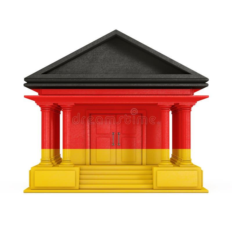Voorgevel van Bank, Hof of Overheids de Bouw met de Vlag van Duitsland het 3d teruggeven royalty-vrije illustratie