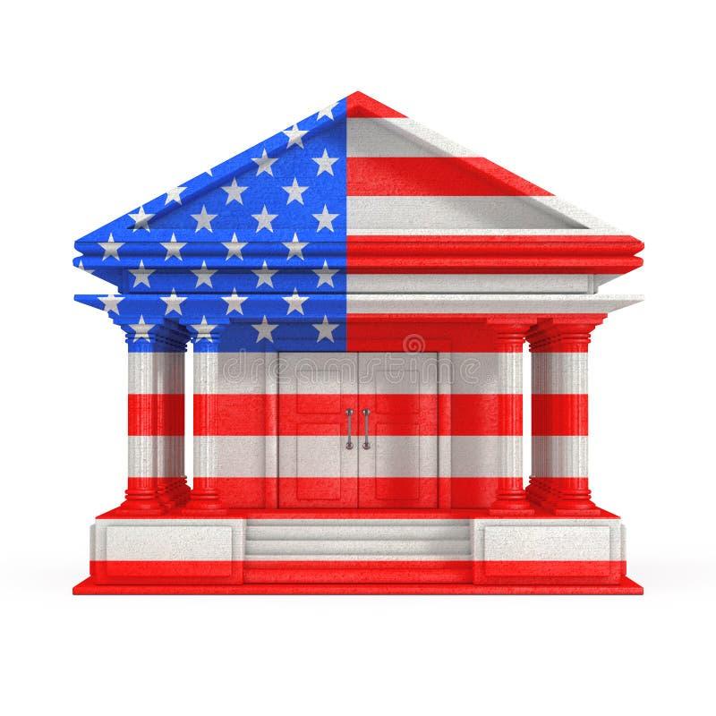 Voorgevel van Bank, Hof of Overheids de Bouw met de Vlag van de V.S. het 3d teruggeven royalty-vrije illustratie