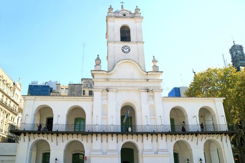 Voorgevel van Cabildo, de Indrukwekkende Historische Koloniale die Bouw voor Openbare Dienst, Buenos aires, Argentinië wordt gebr royalty-vrije stock afbeelding