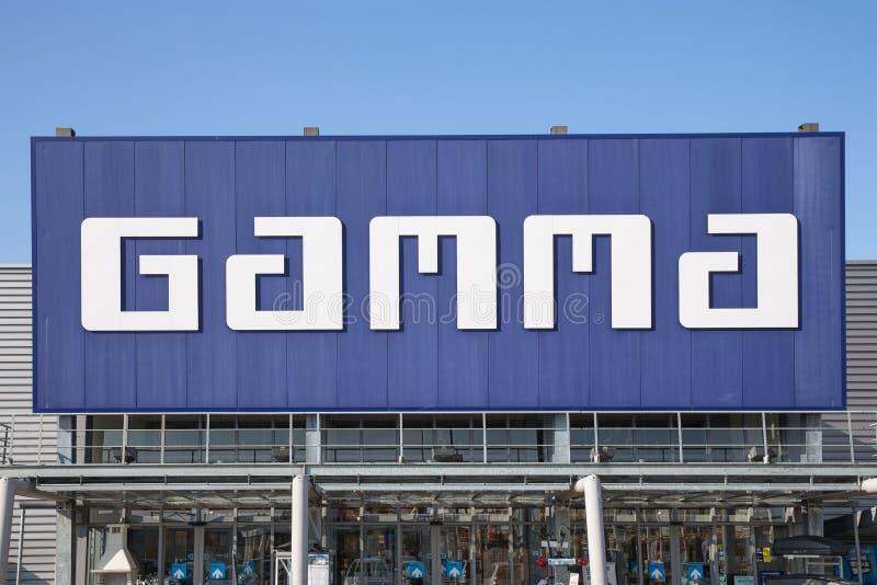 Voorgevel van de Gamma van de bouwmarkt met de bouw van hulpmiddelen en materiaal royalty-vrije stock foto