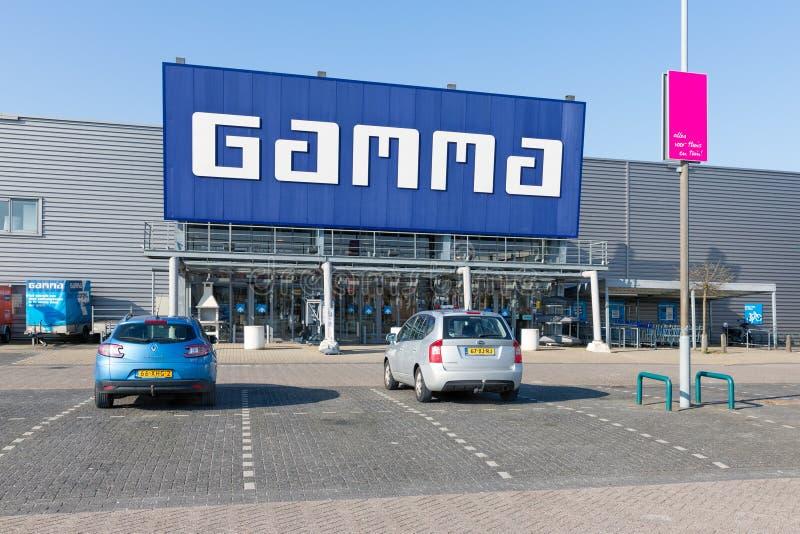 Voorgevel van de Gamma van de bouwmarkt met de bouw van hulpmiddelen en materiaal stock afbeelding