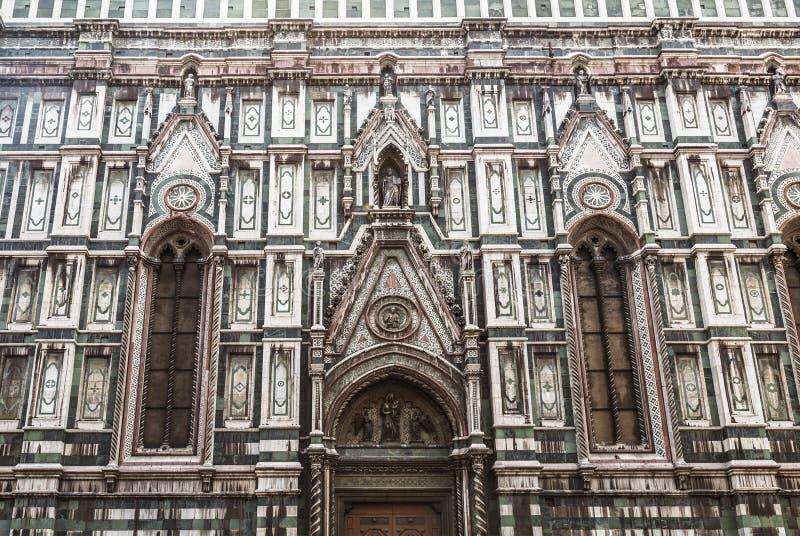 Voorgevel van de Kathedraal van Santa Maria del Fiore, fragment Florence, stock foto's