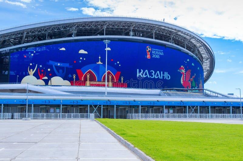 Voorgevel van de Kazan van het voetbalstadion Arena stock afbeelding