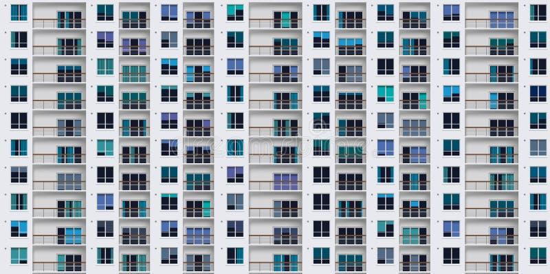 Voorgevel van de moderne bouw die de vensters van woningen reproduceren aan oneindigheid royalty-vrije illustratie