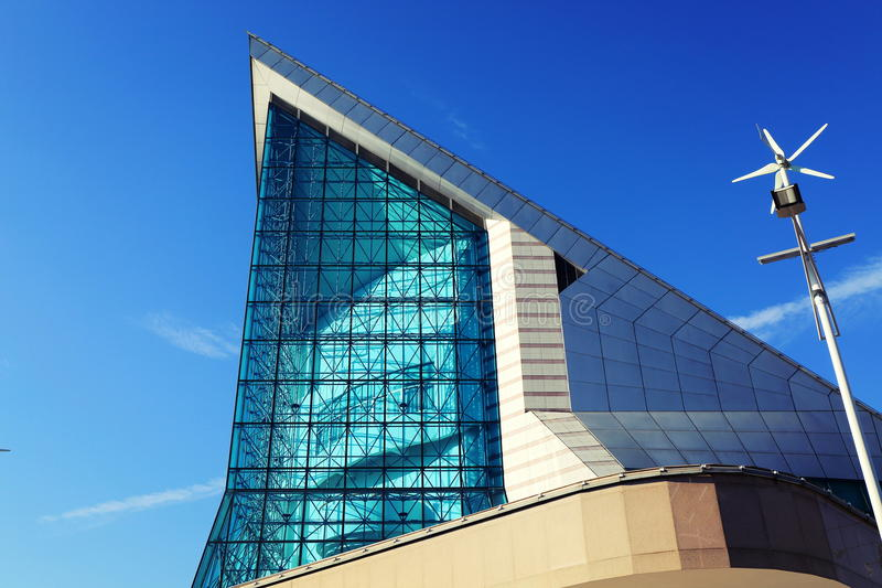 Voorgevel van de moderne bouw van Xinghai-Concertzaal in GuangZhou-Stad, China Azië stock afbeelding