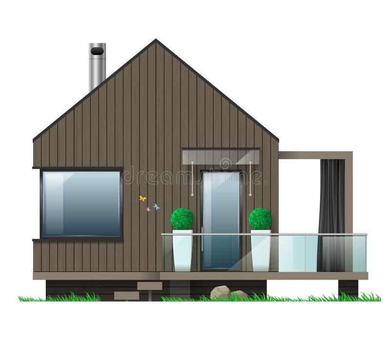 Voorgevel van een modern huis met een terras royalty-vrije illustratie