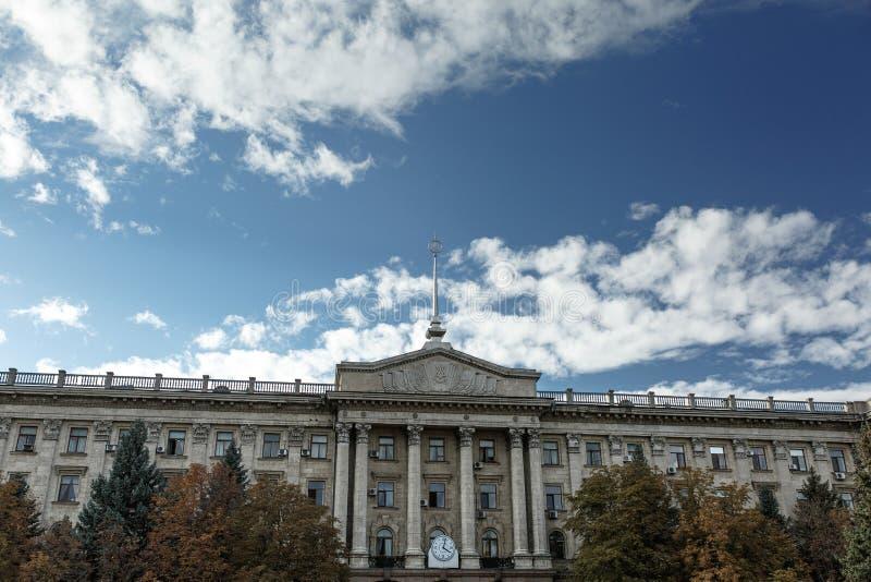 voorgevel van het gebouw van het stadsbeleid in Nikolaev royalty-vrije stock foto's