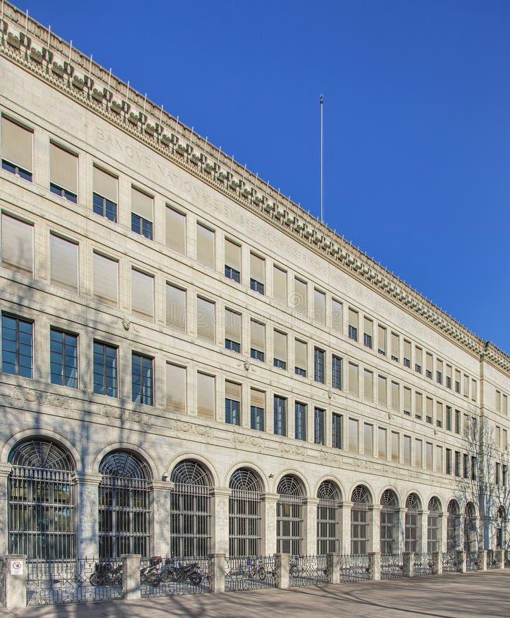 Voorgevel van het Zwitserse National Bank-bureau in Zürich royalty-vrije stock afbeeldingen