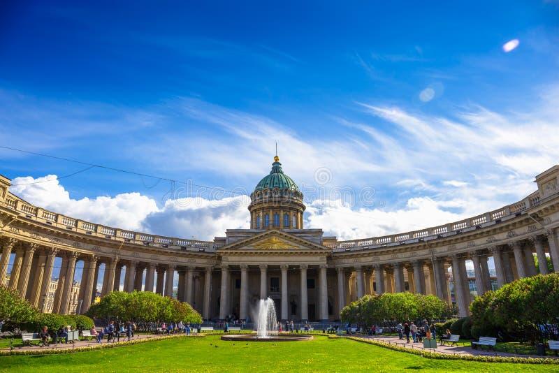 Voorgevel van Kazan Kathedraal, St. Petersburg stock afbeeldingen