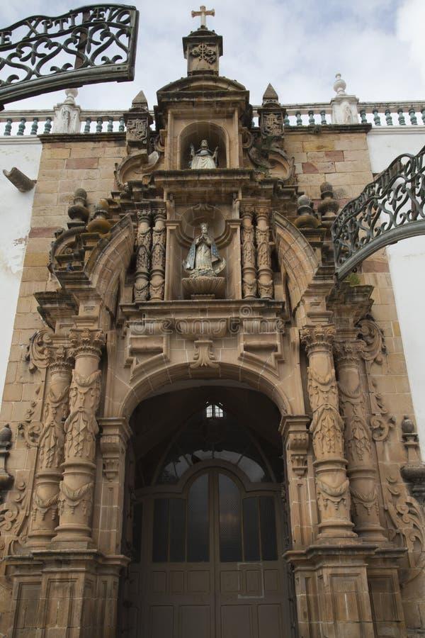 Voorgevel van Metropolitaanse Kathedraal van Sucre, Bolivië royalty-vrije stock fotografie