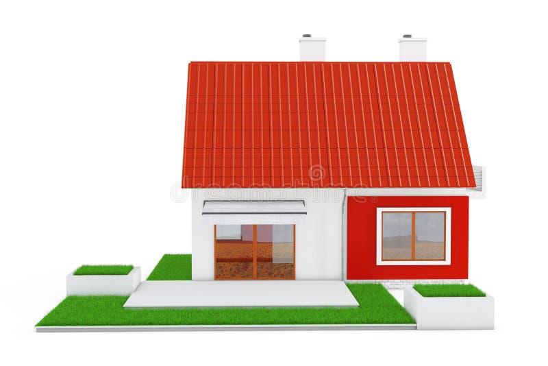 Voorgevel van Modern Plattelandshuisjehuis met Red Roof en Groen Gras 3d vector illustratie