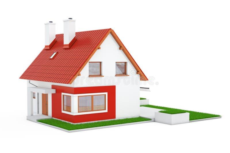 Voorgevel van Modern Plattelandshuisjehuis met Red Roof en Groen Gras 3d royalty-vrije illustratie