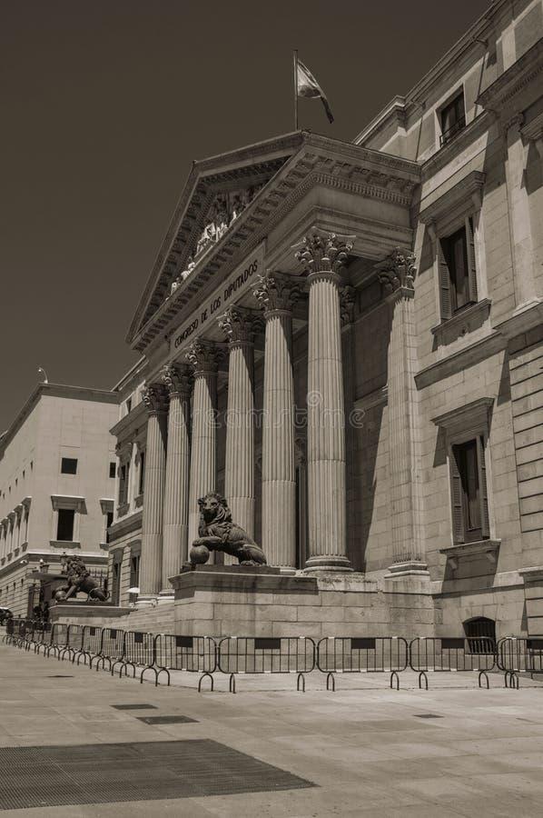 Voorgevel van Palacio DE las Cortes in Madrid royalty-vrije stock afbeeldingen