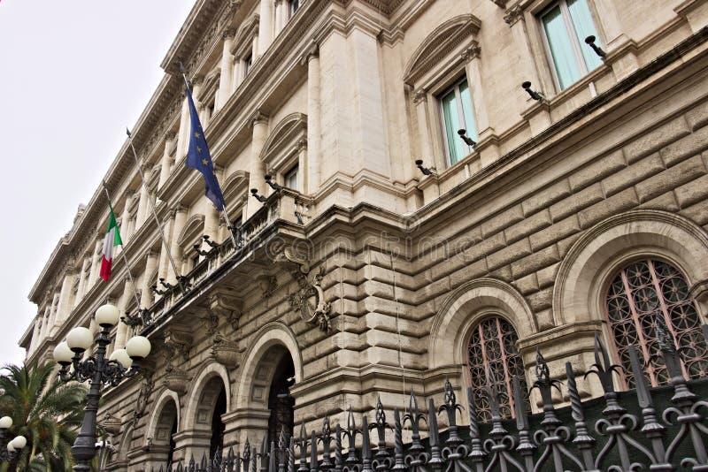 Voorgevel van Palazzo Kock, hoofdkwartier van de Bank van Italië in Rome De Bank maakt deel uit van Eurosystem stock afbeelding