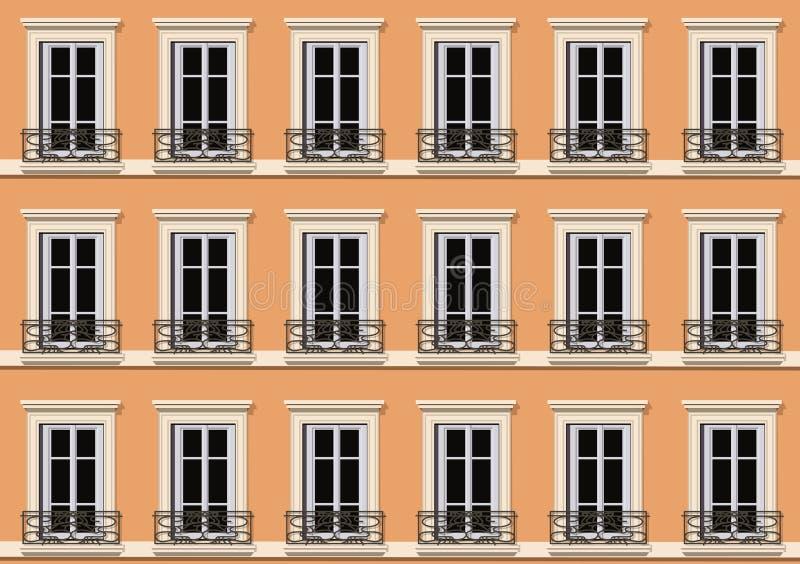 Voorgevel van Parijse stijl die reproducerend de vensters van woningen aan oneindigheid bouwen stock illustratie