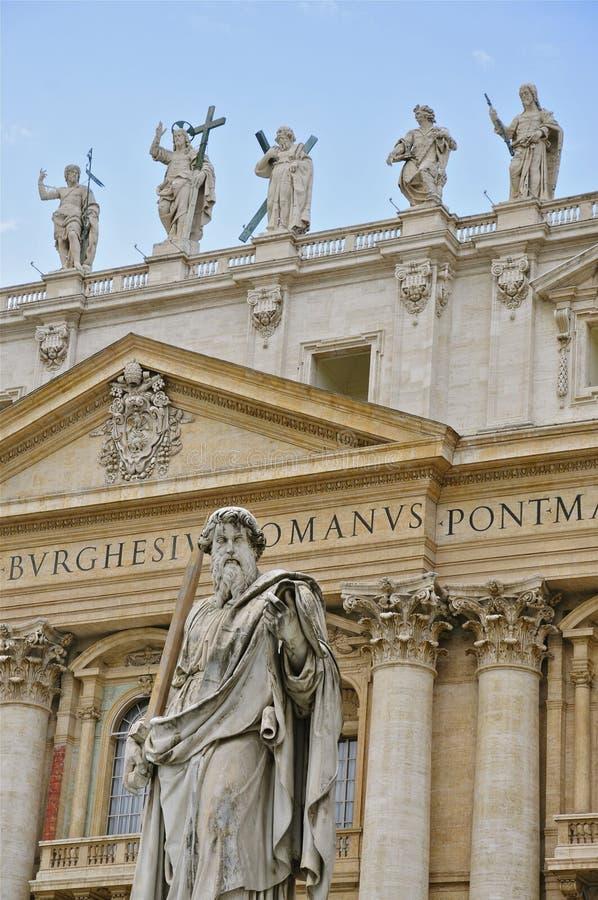 Voorgevel van St Peter ` s Basiliek, Rome royalty-vrije stock fotografie