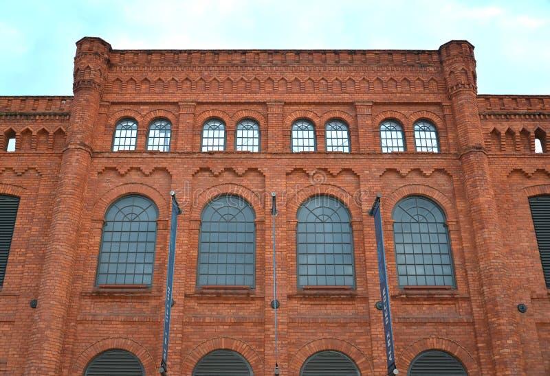 Voorgevel van vroegere wevende molen I Poznanskogo Lodz, Polen royalty-vrije stock afbeelding