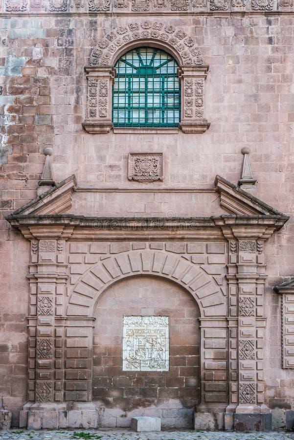 Voorgeveldetails van Iglesia del Triunfo Cuzco Peru royalty-vrije stock foto