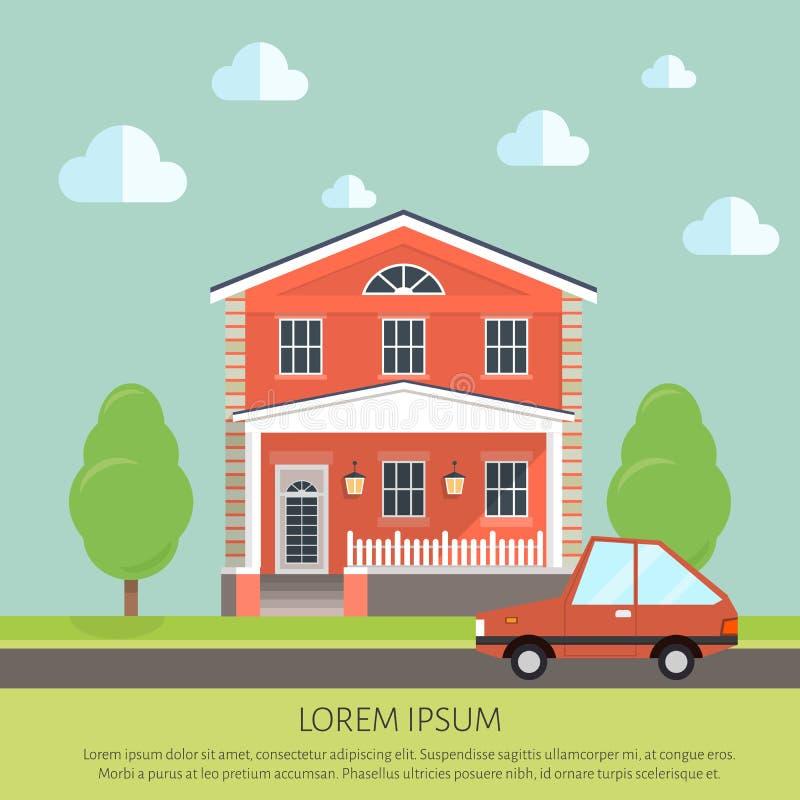 Voorgevelflatgebouw, plattelandshuisje vlakke stijlachtergrond van bomen, auto royalty-vrije illustratie