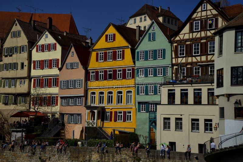 Voorgevelscityscape van Tübingen Schwarzwald Duitsland royalty-vrije stock afbeeldingen