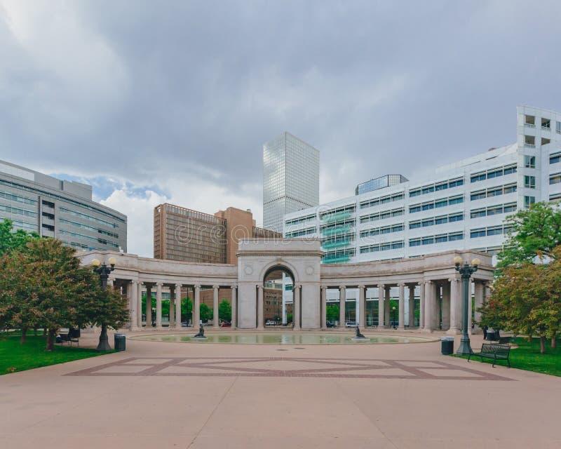 Voorhies Herdenkings en moderne gebouwen in Denver van de binnenstad, de V.S. stock foto's