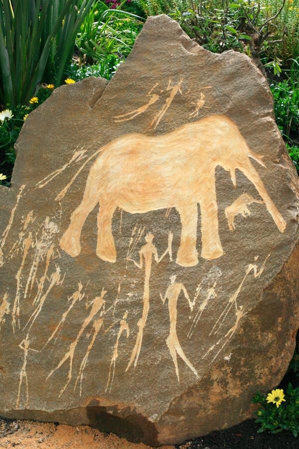 Voorhistorisch Neolithisch Afrikaans rotsart. royalty-vrije stock foto