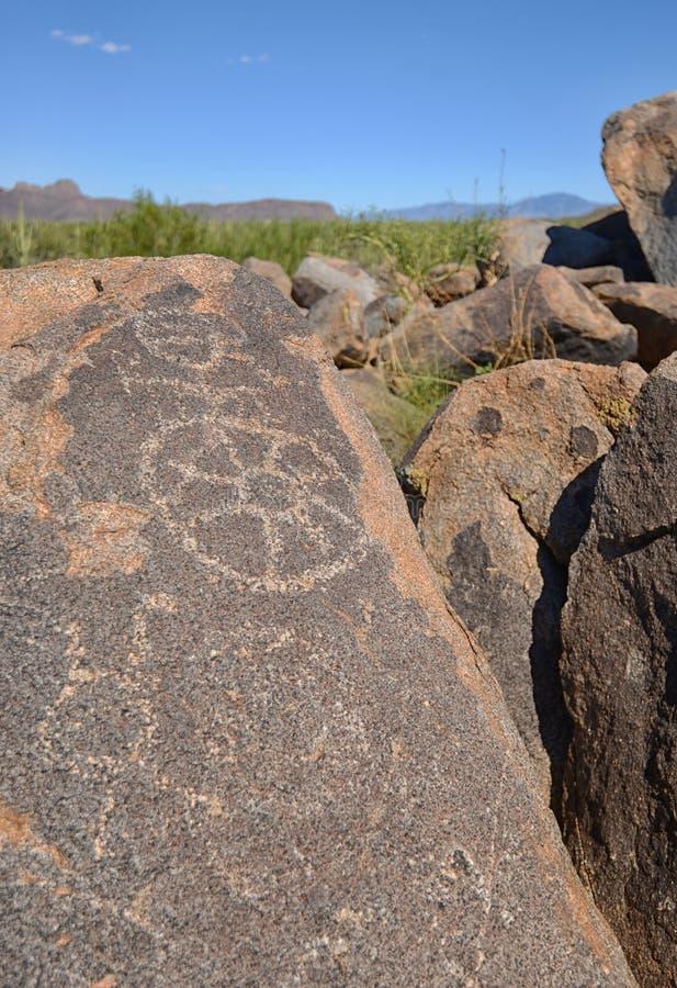 Voorhistorische rotstekeningen in Arizona royalty-vrije stock foto's