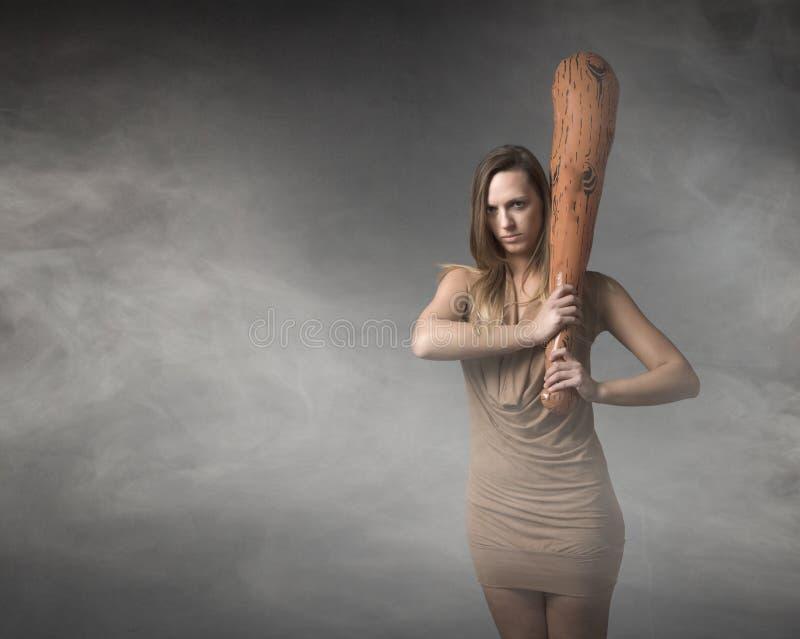 Voorhistorische vrouw met club royalty-vrije stock fotografie