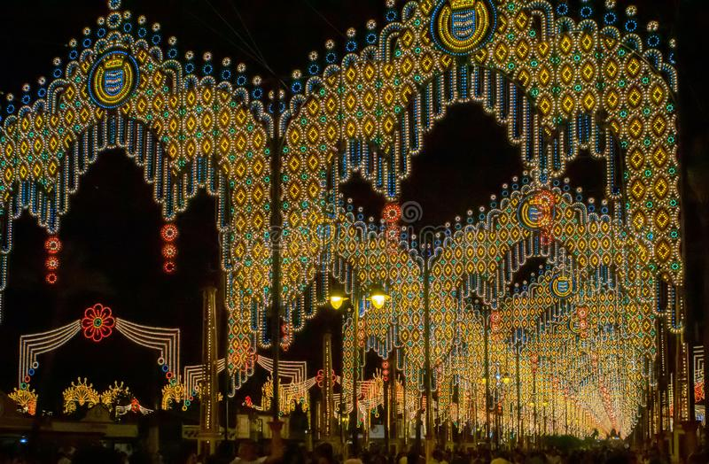 Feria de los Caballos, Jezer de la Frontera, Spain. The festive festival site with thousands of lights, countless party tents and strolling party-goers. The stock photos