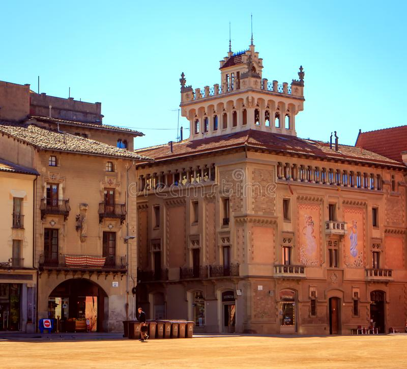 Plaza Mayor, Vic, Spain. Placa Major, the large unpaved square in the historic center of the city of Vic, Spain, after the morning market royalty free stock photos