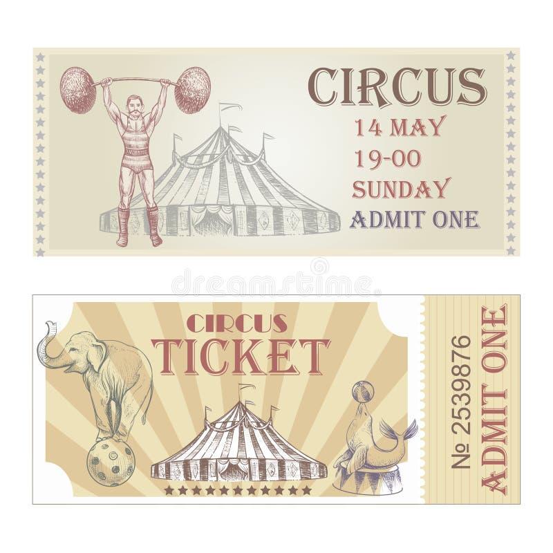 Voorkant van circus de vector horizontale kaartjes royalty-vrije illustratie