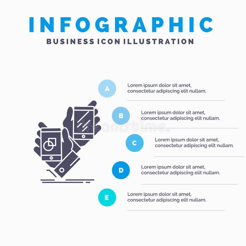Voorlichting, merk, pakket, plaatsing, het Malplaatje van productinfographics voor Website en Presentatie GLyph Grijs pictogram m royalty-vrije illustratie