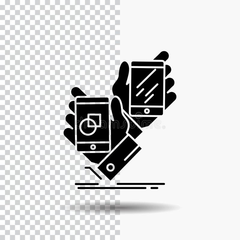 Voorlichting, merk, pakket, plaatsing, het Pictogram van productglyph op Transparante Achtergrond Zwart pictogram royalty-vrije illustratie