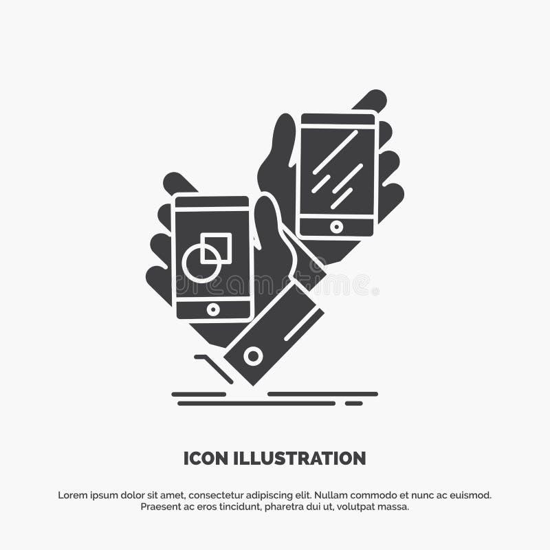 Voorlichting, merk, pakket, plaatsing, productpictogram glyph vector grijs symbool voor UI en UX, website of mobiele toepassing stock illustratie