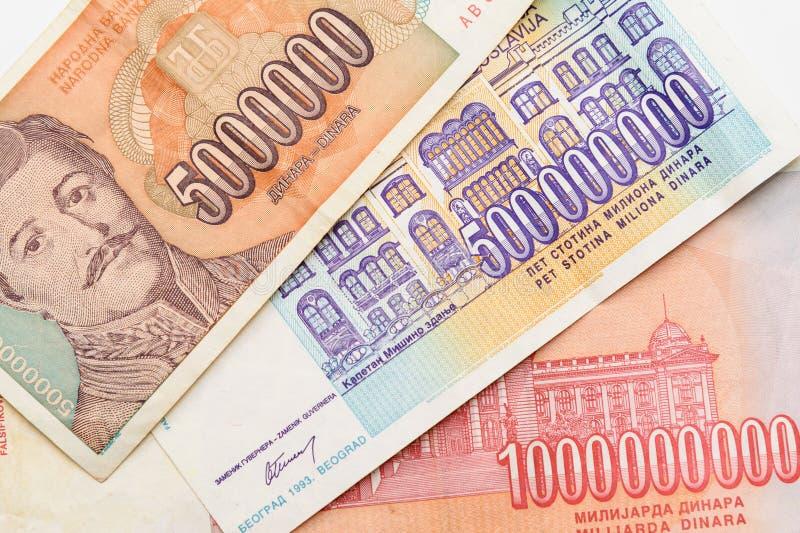 Voormalig Joegoslaviëbankbiljetten royalty-vrije stock afbeelding