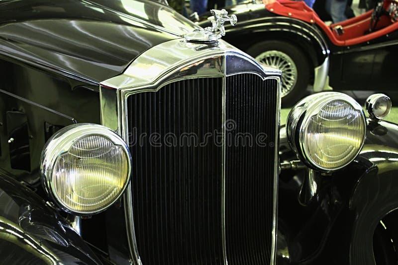 Voormasker en hoofdlichten van Licht Acht 1932 van Packard van de veteraanauto stock fotografie