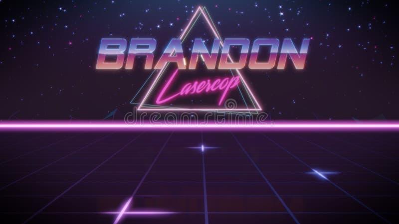 voornaam Brandon in synthwavestijl vector illustratie