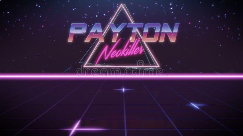 voornaam Payton in synthwavestijl royalty-vrije illustratie
