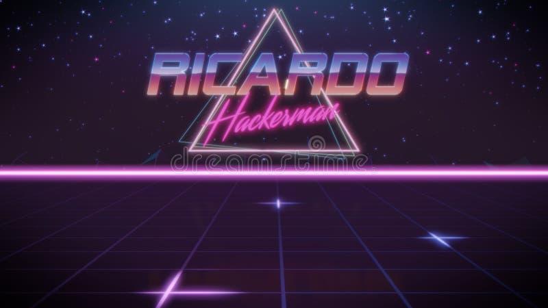 voornaam Ricardo in synthwavestijl royalty-vrije illustratie