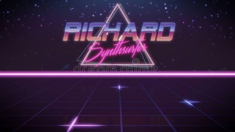 voornaam Richard in synthwavestijl stock illustratie