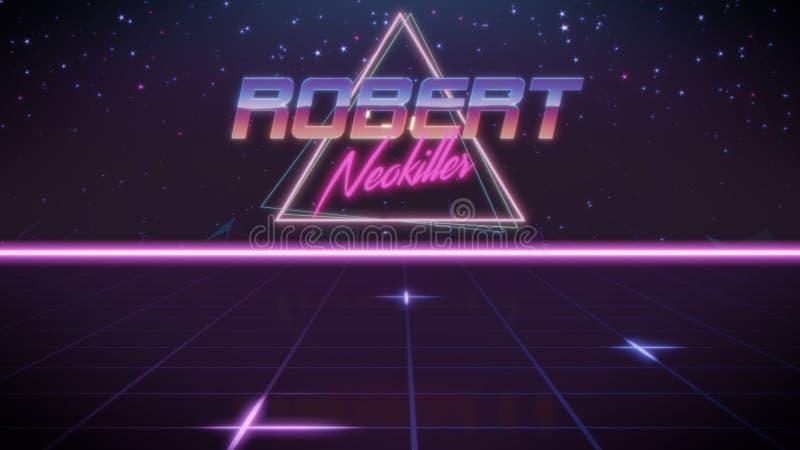 voornaam Robert in synthwavestijl stock illustratie