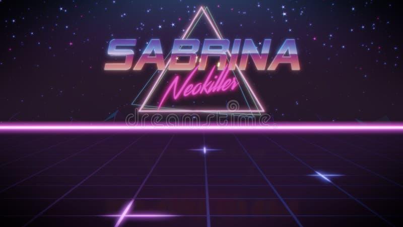 voornaam Sabrina in synthwavestijl stock illustratie