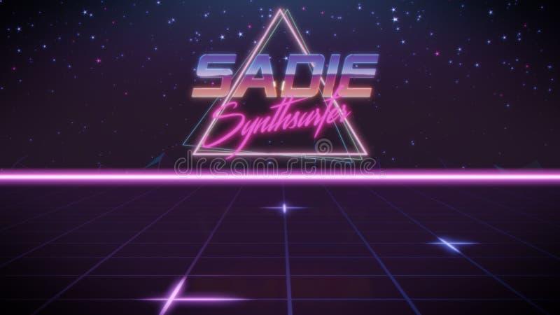 voornaam Sadie in synthwavestijl vector illustratie