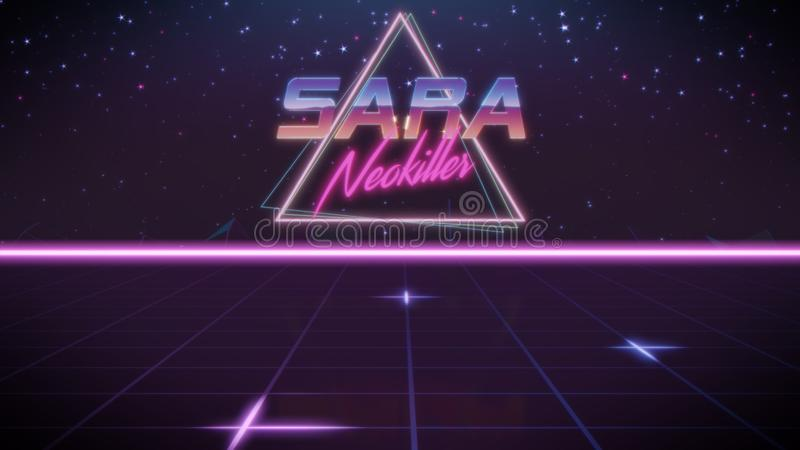 voornaam Sara in synthwavestijl vector illustratie